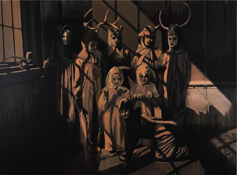 Claire Tabouret, Dans les bois,  acrylique sur toile, 170 x 230 cm.