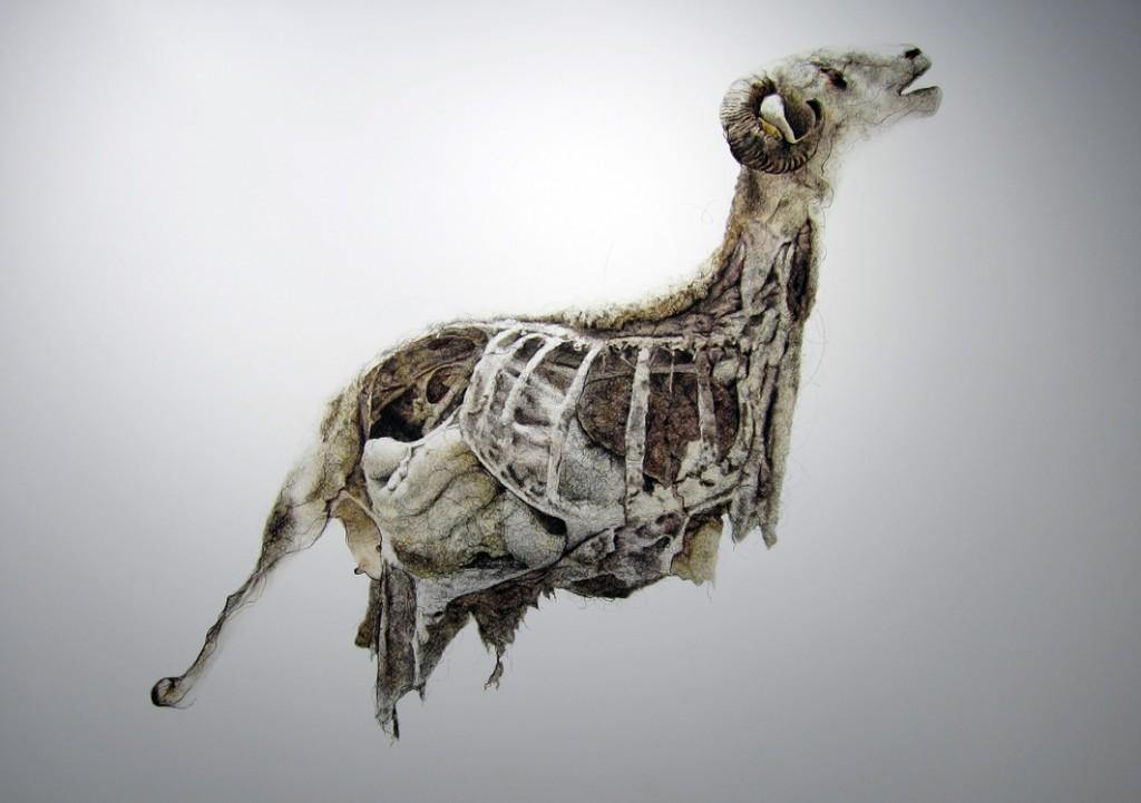 Emmanuelle Mason, Le Bélier, encre sur impression numérique montée sur Dibond - 150 x 213 cm - 2012