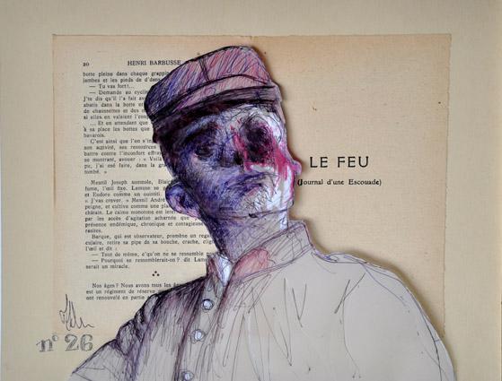 """Marc Héliès, Gueules cassées, crayon et stylo sur page du """"Feu"""" d'Henri Barbusse, 24 x 30, 2012-2013"""
