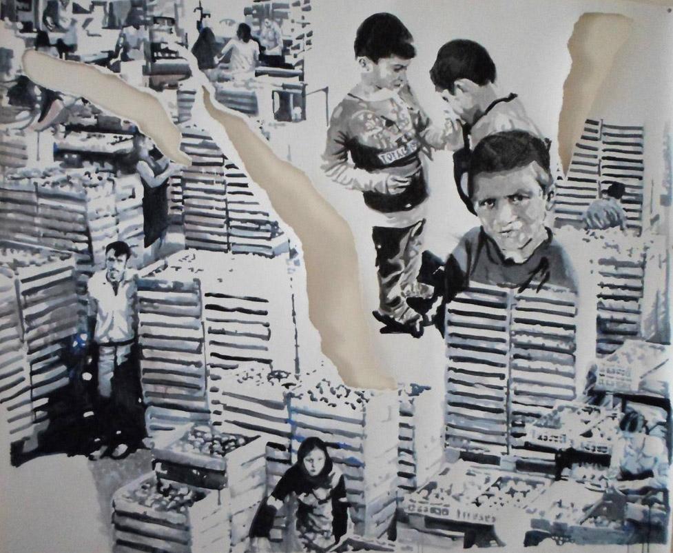 Élodie Lemerlé, Acrylique sur papier, 100 x 150 cm