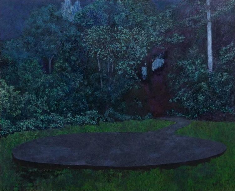 Bruno Gadenne, série La rivière, la nuit, huile sur toile, 130 x 160 cm.