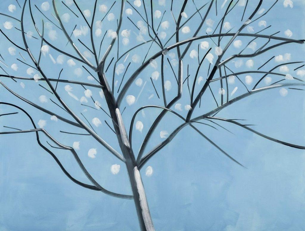 Alex Katz, Dogwood, 2016. Huile sur toile, 243,8 x 320 cm.