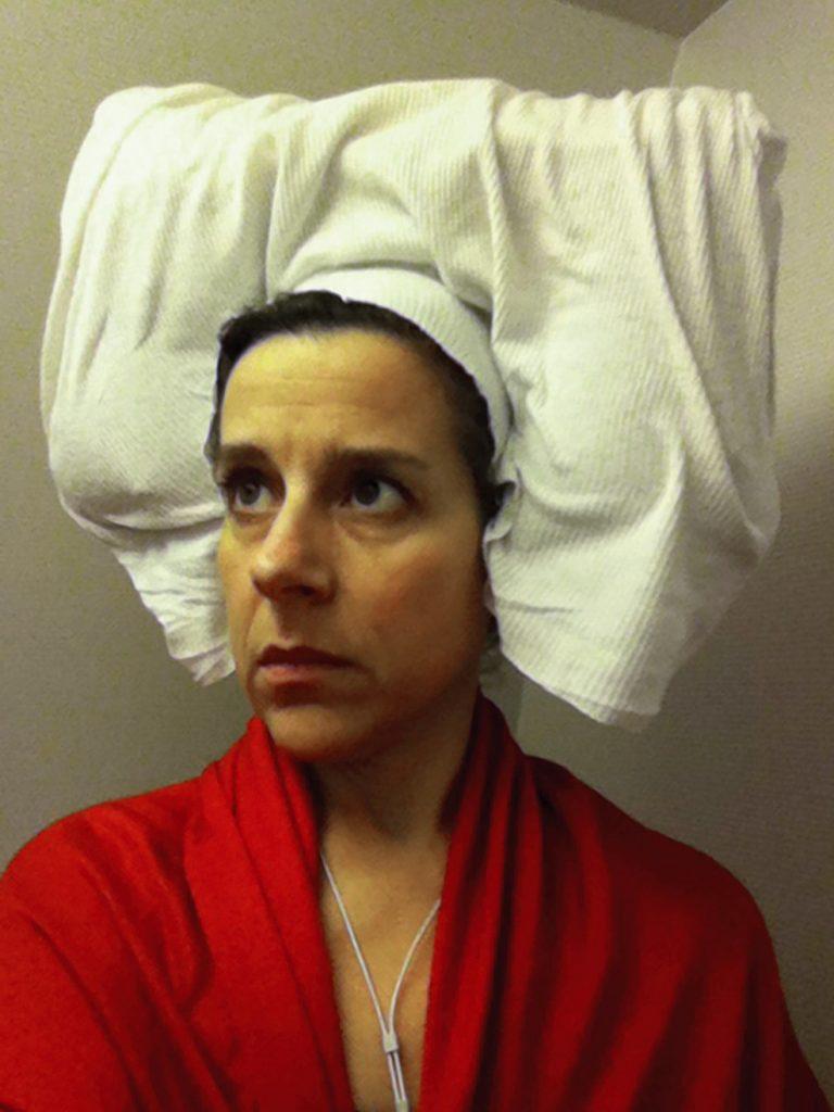 """Nina Katchadourian, """"Lavatory self-portrait in a Flemish style"""", Suite #1, C-prints"""