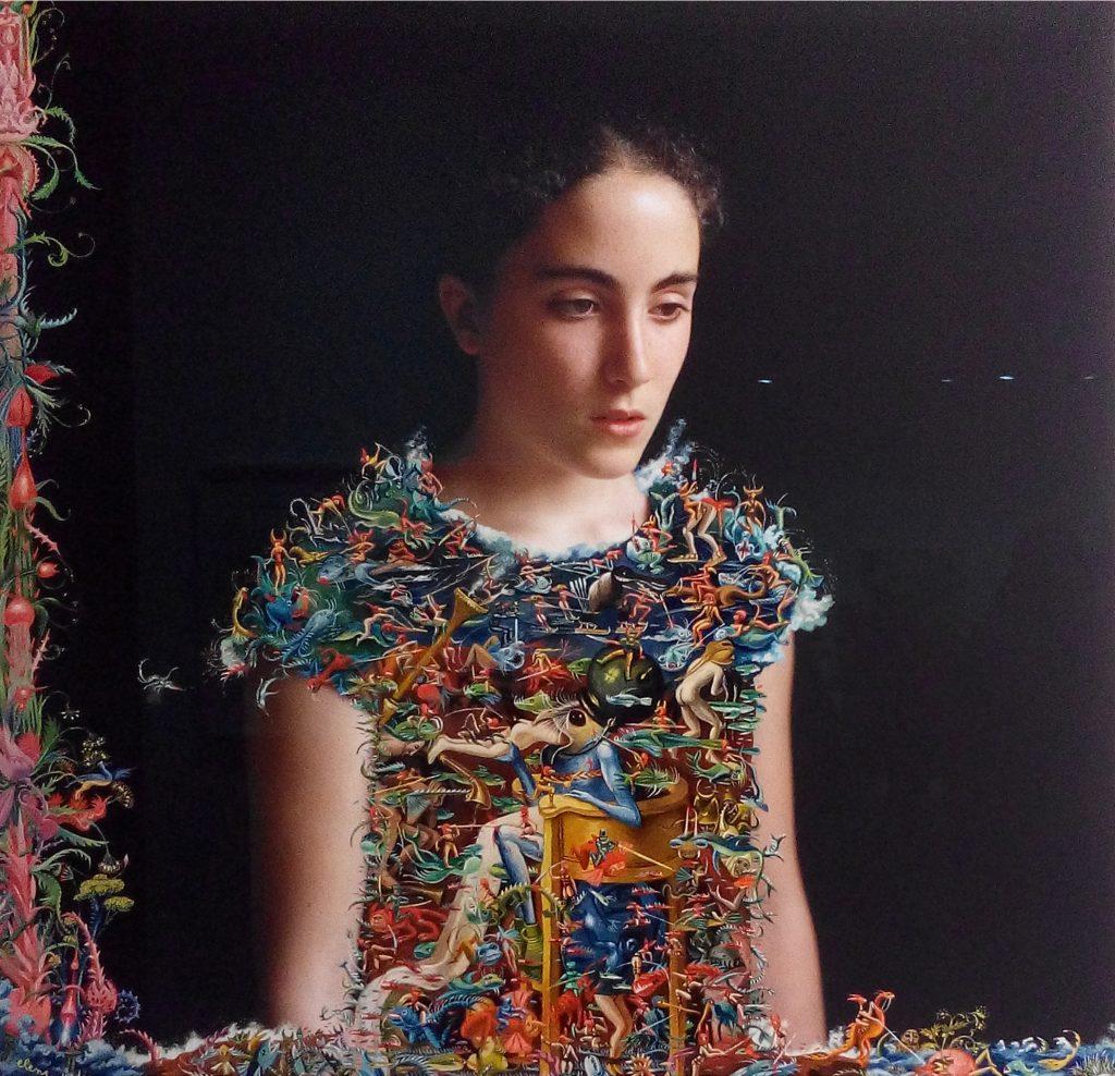 """Elene Usdin, """"Pauline d'après Bosch"""", 2016, 64 x 64 cm. Archival pigment print with acrylic painting, framed. Unique piece."""