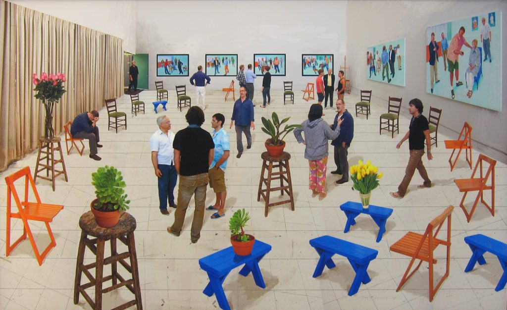 "David Hockney, ""4 blue stools"", 107 x 176 cm, photographic drawing printed on paper, mounted on Dibond, 2014"