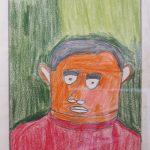 Paul Duhem à la galerie Jean Greset. Cet artiste star de l'art brut a commencé à peindre à l'âge de 70 ans. Toujours un visage (parfois une porte-visage), sans doute un autoportrait qu'il décline en série en variant les couleurs.